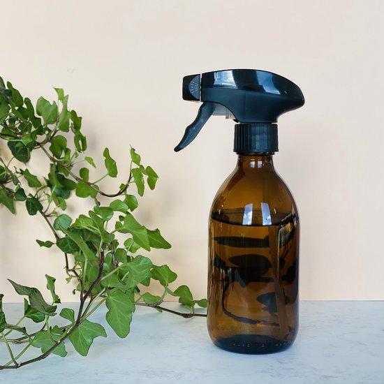 Plantenspuit | 300 ml amberglas | met zwarte spraykop | plantensproeier | Waterverstuiver | Verstuiver