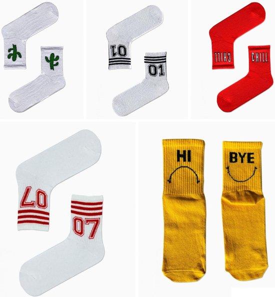 5 stuks, kleurrijke sokken, kleurige, leuke, grappig, mode, socks, sokken heren-dames, cactus sport, fitness, run, fit, happy, volwassen, unisex, maat 38-44