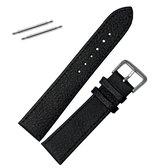 Fako® - Horlogebandje - Echt Leer - Ultra Thin - 18mm - Zwart
