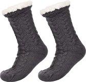 JAXY - Huissokken Dames - Verwarmde Sokken - Anti Slip Sokken - Huissokken - Bedsokken - Warme Sokken - Kerstcadeau Voor Vrouwen - Thermosokken - Dikke Sokken - Fluffy Sokken - Kerstsokken Dames en Heren - Grijs