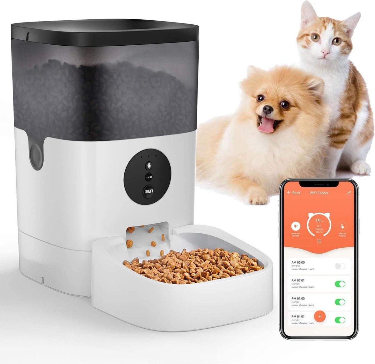 Rexa  Smart WiFi op afstand instelbare Automatische voerautomaat   Hondenvoederapparaat met geluidso