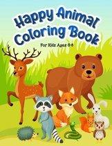 Happy Animal Coloring Book