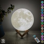 FOOCCA Maan Lamp 3D - 15 cm - Tafellamp - Accu 15 tot 89 uur - Maanlamp -  Moon Lamp - 16 dimbare LED kleuren en Afstandsbediening