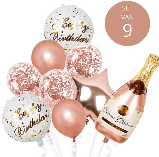 Ballonnen Verjaardag Set voor Vrouwen - Feest Versiering met Champagnefles Ballon - Verjaardag Versiering - Happy Birthday Ballonnen - Folie Ballonnen - Feest Decoratie - 18 Jaar - Verjaardag Decoratie Complete Ballon Set - Duurzame Ballon - Fienosa®