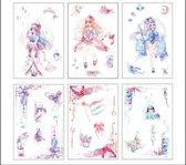 decoratieve stickers | washi stickers | waterverf -  figuren | 10 cm x 15 cm