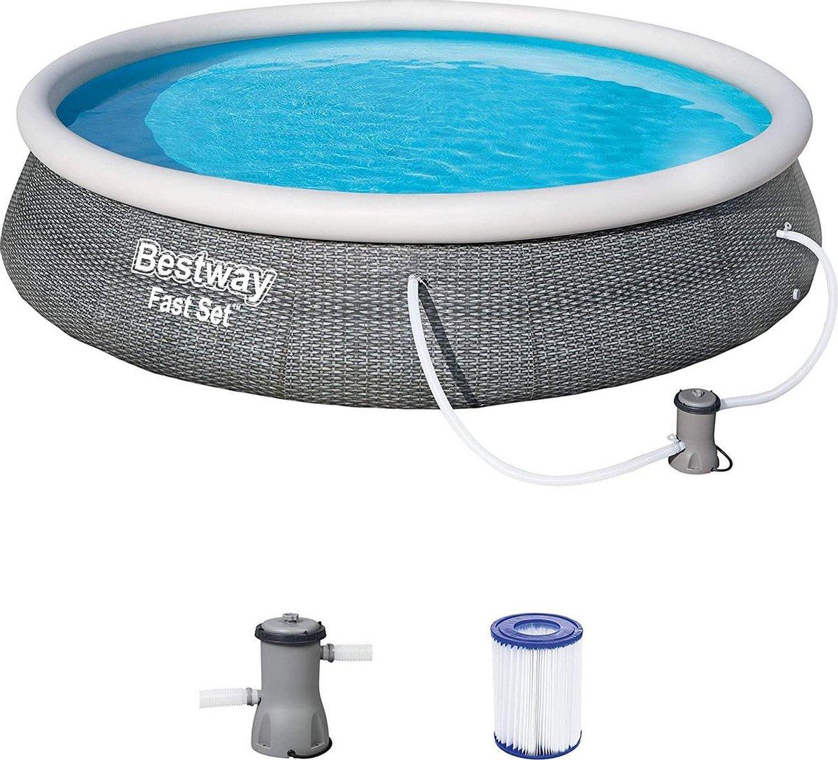 Bestway Fast Set complete set met filterpomp, Rotan grijs, zwembad, opblaasbaarzwembad, zwembaden
