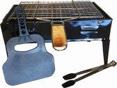 Draagbare barbecue met accessoires – picknick bbq – tafel barbecue  - camping – festival - 4 personen - houtskool - rechthoekige grill - staal – zwart – waaier – tang