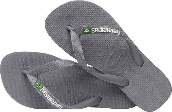 Havaianas Brasil Logo Heren Slippers - Steel Grey/Steel Grey - Maat 41/42
