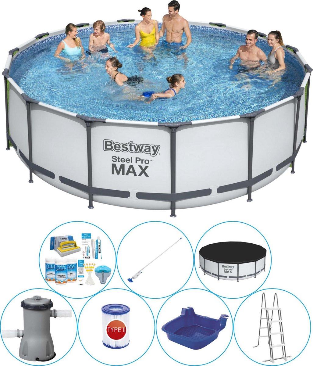 Bestway Steel Pro MAX Rond 457x122 cm - Zwembad Combinatie Deal