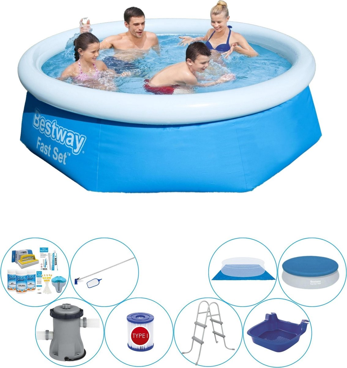 Bestway Fast Set Rond 244x66 cm - Zwembad Inclusief Accessoires