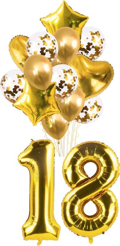 Ballon set 18 jaar - goud - folie - set van 16 - 1 meter