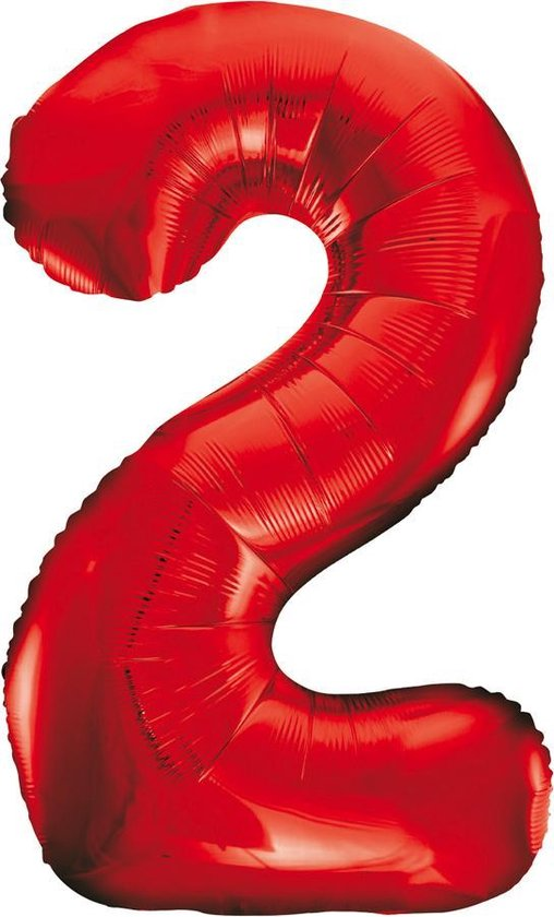 Folie Ballon Cijfer 2 Rood XL 86cm leeg