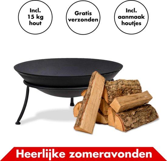 Vuurschaal Met Open Haard Hout Inclusief Aanmaakhout En Aanmaakblokjes –...