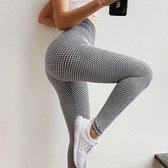 TikTok Legging - Dames - Butt lifting - TikTok broek - TikTok Yogapants - Grijs/wit