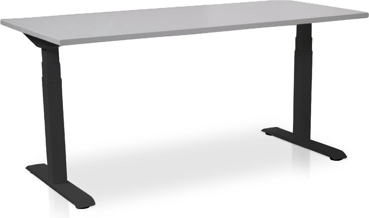 Zit-sta bureau elektrisch verstelbaar - MRC PRO-L | 140 x 80 cm | frame zwart - blad grijs - met kabelmanagement | memory functie met 4 standen | 150kg draagvermogen