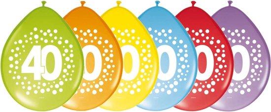 24x stuks verjaardag leeftijd party ballonnen in 40 jaar thema - Opgeblazen 29 cm - Feestartikelen/versieringen