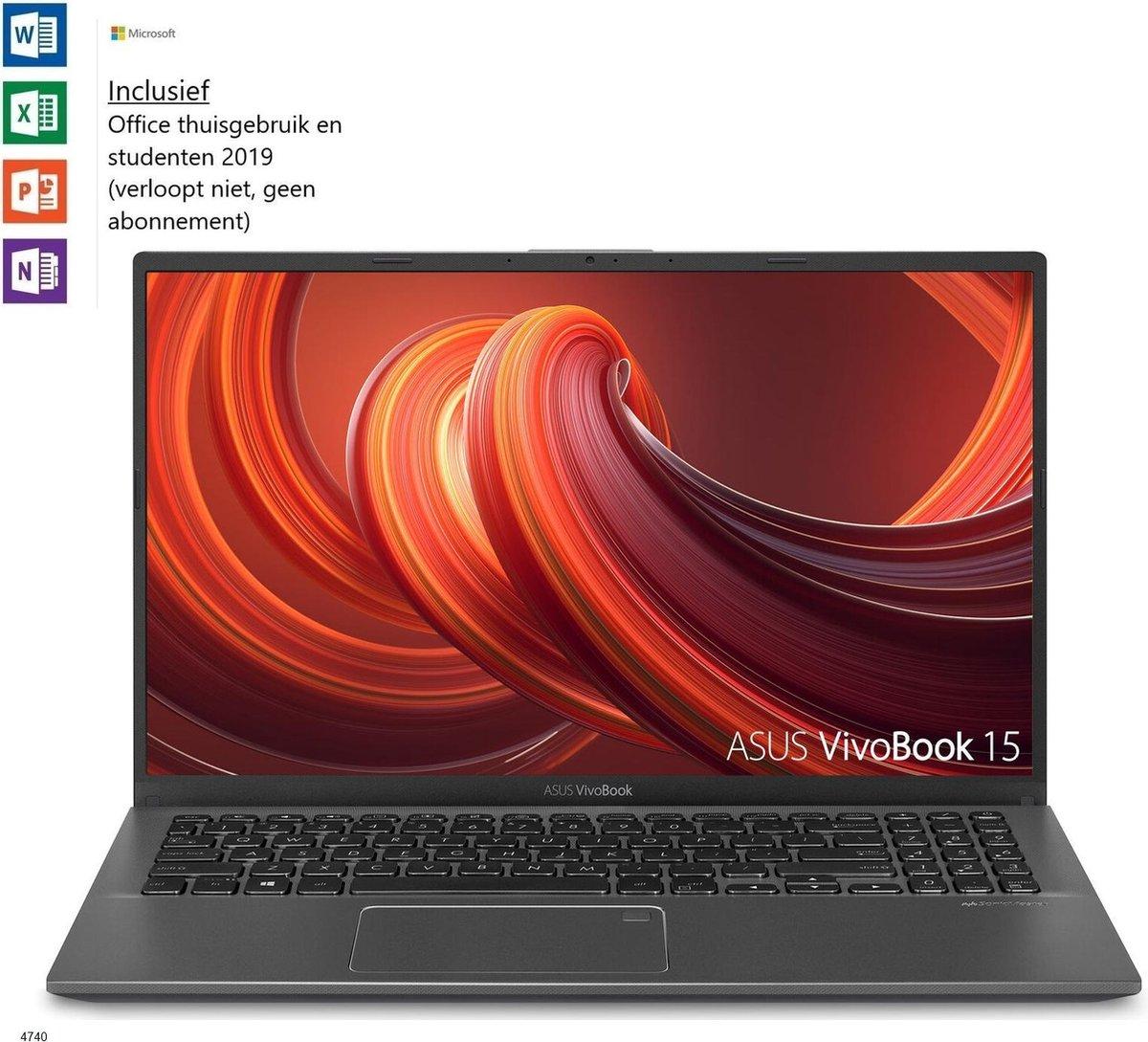 Asus Vivobook 15 inch laptop - 8GB RAM - i3-1005G1 - Windows 10 - Tijdelijk met GRATIS Office 2019 Home & Student t.w.v. €149! (Word, Excel, PowerPoint, OneNote)