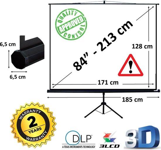 """Projectiescherm op statief - Statiefscherm 84"""" mét opbergtas - 171 x 128 cm - 4:3 of 16:9 - beamer scherm"""