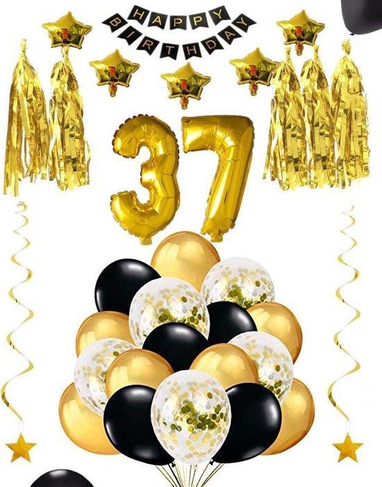 37 jaar verjaardag feest pakket Versiering Ballonnen voor feest 37 jaar. Ballonnen slingers sterren opblaasbare cijfers 37