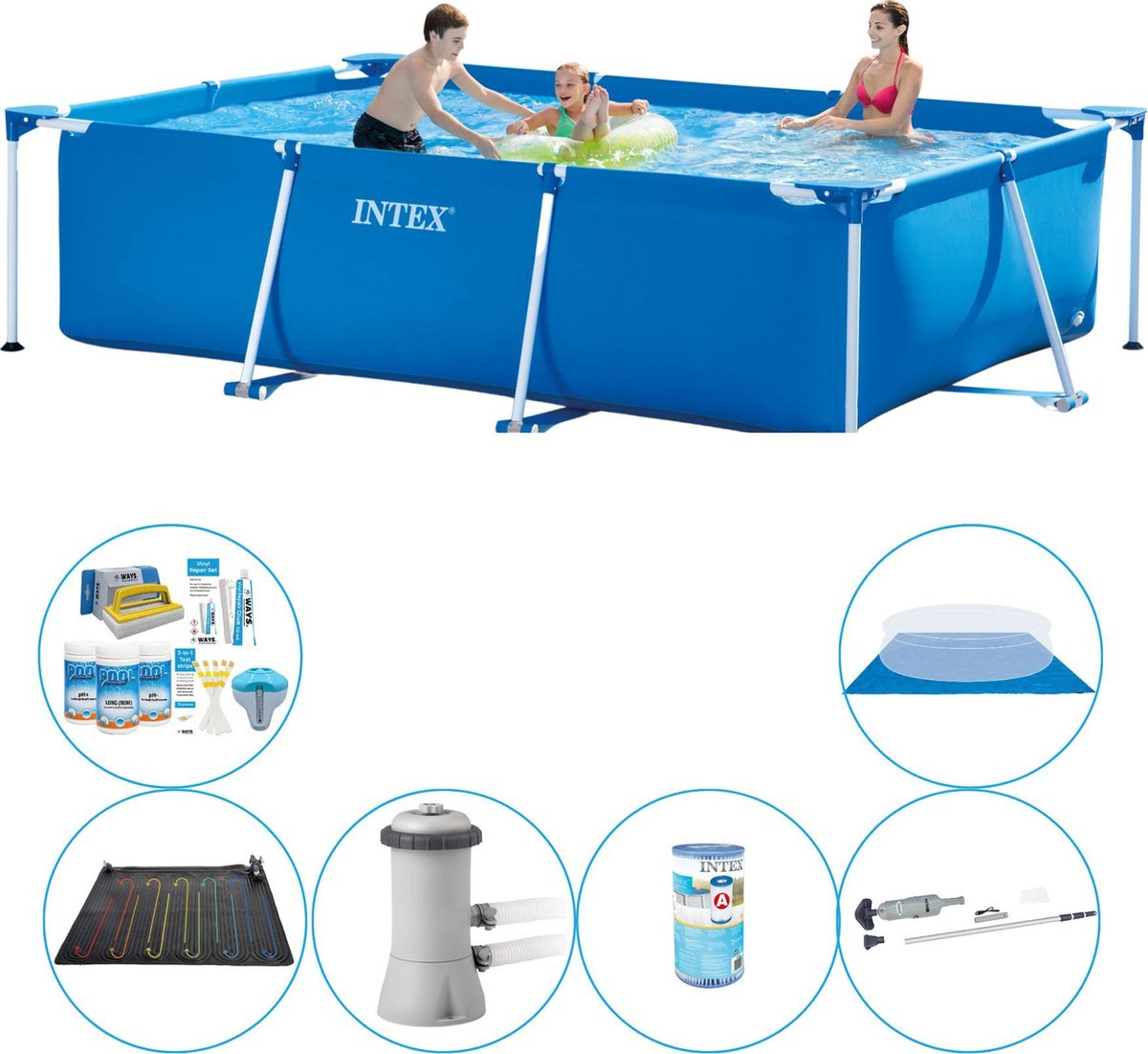 Intex Frame Pool Rechthoekig 300x200x75 cm - 7-delig - Zwembad Deal