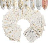 GUAPÀ - Nail Art Nagel Sjabloon Stickers 30 vellen - Zelfklevende Nagelstickers & Nageldecoratie 3D Goud en Zilver
