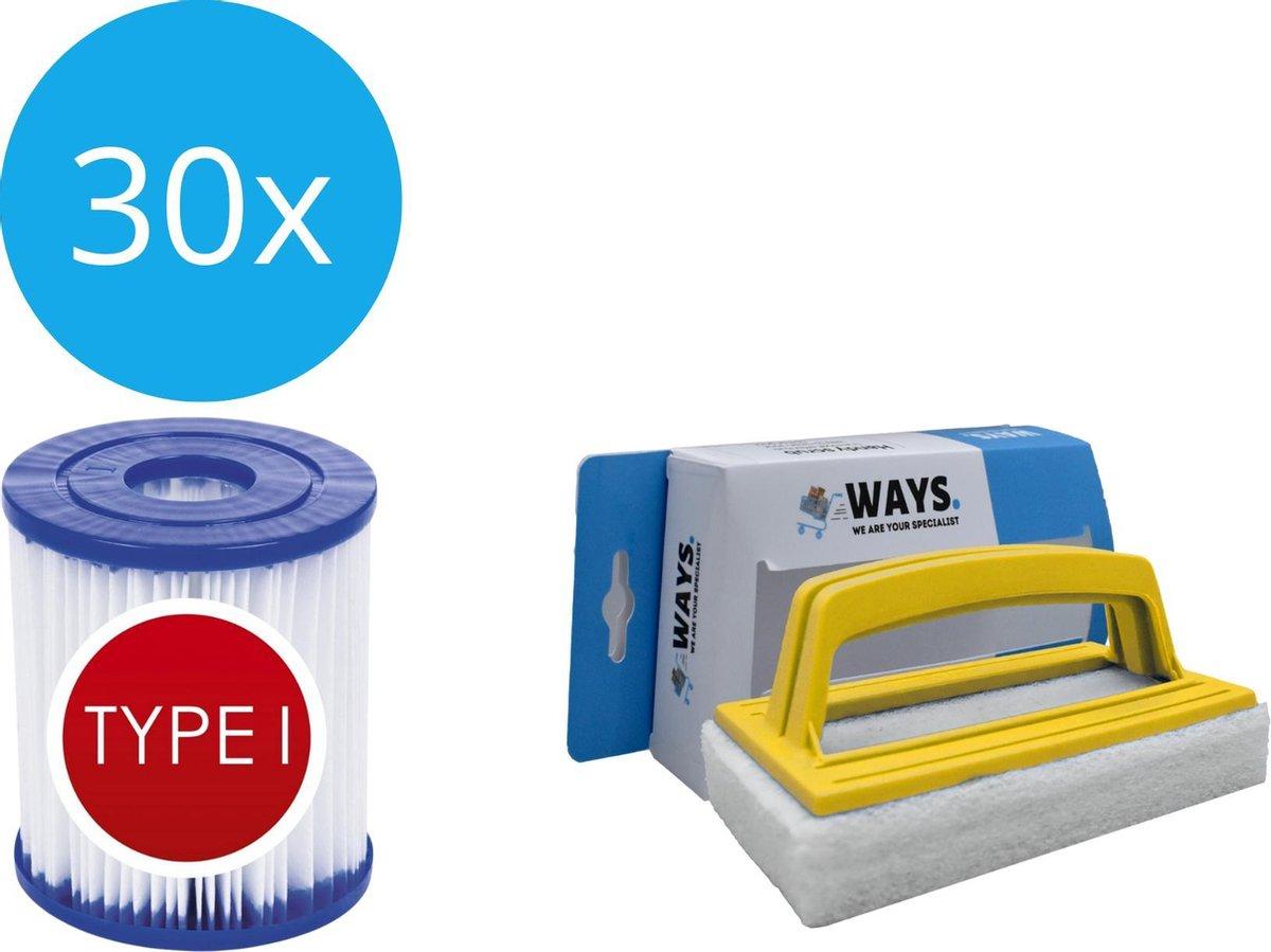 Bestway - Type I filters geschikt voor filterpomp 58381 - 30 stuks & WAYS scrubborstel