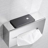 Tissue Box RVS - Metaal- Tissuehouder-Papierhouder-Zakdoekjeshouder- Wandmontage-Tafelmodel