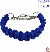 Paracord Halsband Hond Blauw - Half Slip - Half Check - Anti Trek - Gevlochten - Stevig en Duurzaam - Middelgroot - 33 tot 43 cm