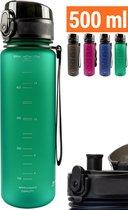 Drinkfles 500ml - Sport Bidon Drinkbus Groen - BPA vrij Tritan Hoge Kwaliteit - King Mungo Drinkflessen Volwassenen Kinderen