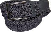 Grijs - Elastische Comfort Riem - maat 130 cm - Gevlochten - 100% Elastisch - Nikkelvrije Gesp