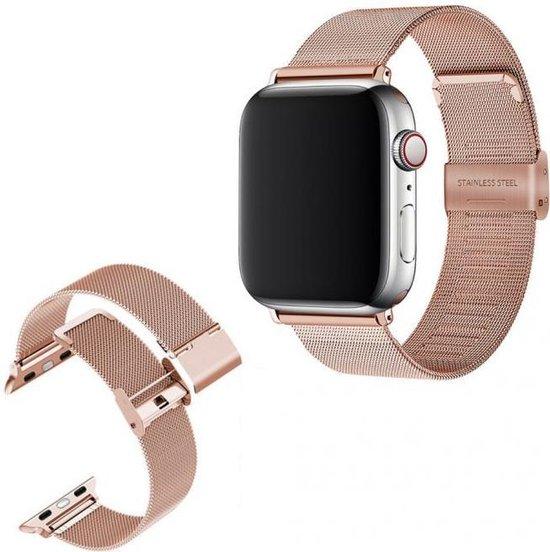 Luxe Milanese Loop Armband Voor Apple Watch Series 1/2/3/4/5/6/SE 38/40 mm Horloge Bandje - Metalen iWatch Milanees Watchband Polsband - Stainless Steel Mesh Watch Band - Horlogeband - Veilige Vergrendelbare Sluiting - Rosegoud Kleurig