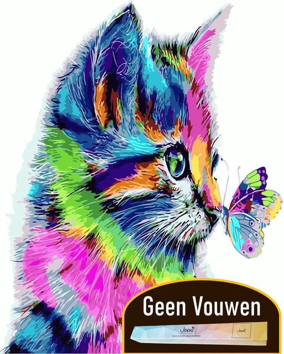 Joeni® Schilderen Op Nummer - 40x50 cm - Dieren: Kleurrijke Kat met Vlinder - Volwassenen