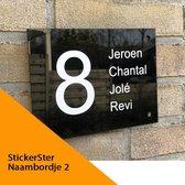 Naambordje voordeur zwart 15 x 20 cm plexiglas huisnummer en namen