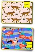 Wenskaarten - Set van 14 - Bedankt (7x) - Gefeliciteerd (7x) - Felicitatiekaarten - Verjaardag - Verjaardagskaart - Ansichtkaart - Bedank kaartje - Kaartje met een staartje - Postkaart - Postkaarten - Kinderen - Jungle - Safari - Dieren - Patronen
