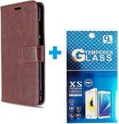 Motorola Moto E6i / E6 Plus hoesje book case + 2 stuks Glas Screenprotector bruin