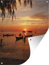 Tuinposter Ko Tao - Silhouet Sairee strand op Koh Tao in Thailand Tuinposter 60x80 cm - Tuindoek/Buitencanvas/Schilderijen voor buiten (tuin decoratie)
