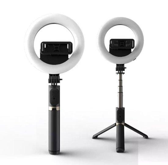 REPUS Selfie Ring Licht met statief 4-in-1 Selfie Tripod met ring lamp | 3 licht standen | Tripod | Selfie stand |Tik-Tok 2021 | Musthave | Ringlight | Selfie ring light | Cadeau|