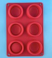Muffinvorm - Bakvorm - Siliconen - 6 muffins - Rood