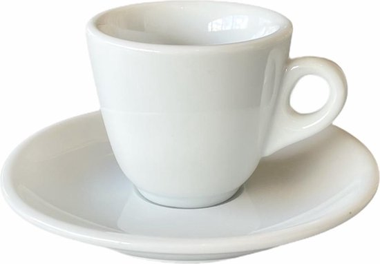 Espresso Kopje - Espresso kopjes met schotel - Espressokopjes - Espresso - Porselein - Wit - 50ml