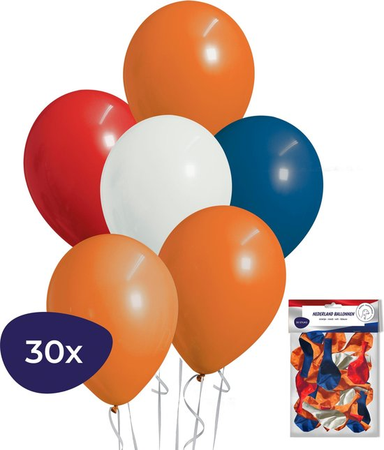 Ballonnen - 30 stuks - Oranje - Helium Ballonnen - Rood wit blauw - EK versiering - Voetbal versiering