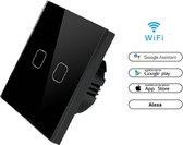 WIFI Wand schakelaar Touch 1x zwart 86mm 1 gehard glas paneel muur Switch lichte aanraking-wegschakelaar AC 90-250 v 400W 2A 1x schakelaar 2 weg WIFI