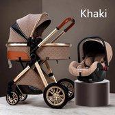 Luxe multi-functionele 3 in 1 wandelwagen - Babywagen - Kwalitatieve buggy - Opklapbare kinderwagen - Licht en flexibel - Blauw/Choco/Beige/Grijs/Roze/Wit