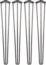 4 x 86 cm - Hairpin Retro Pootjes / Tafelpoten / Pinpoten - 3 Ledig - Ruw Staal - Incl. Vloerbeschermers