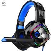 Elianzo Gaming Headset met Microfoon - Geschikt voor PS4, PS5, Xbox one & Pc -  Zwart/Blauw