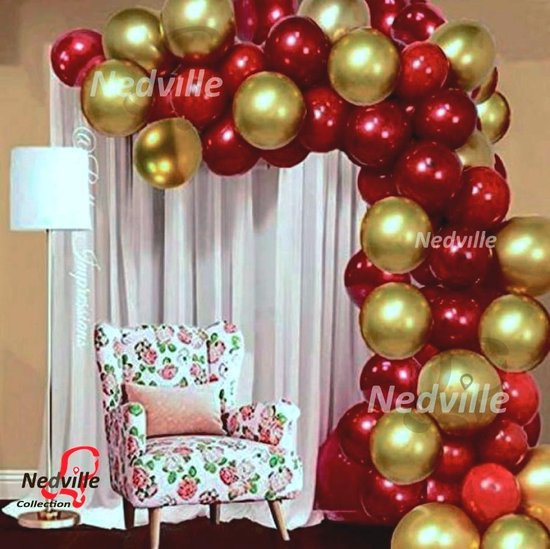 Nedville Ballonnen - 50 romantisch assortiment metallic ballonnen - Sara - Abraham - verjaardag ballonnen - Balonnen ;) extra groot 38 cm - hoge kwaliteit bio afbreekbaar latex - lucht en Helium ballonnen - met snel sluiters + lintjes t.w.v. 9,95