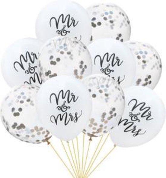 confetti ballon huwelijk 30 cm , Mrs. & Mr zilver 5 stuks kindercrea