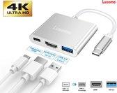 Luxema® - 4K USB C naar HDMI    USB 3.0    USB-C - 3 in 1 adapter - 4K 1080p Ultra HD - Superspeed 10 Gbit/s - USB C naar Multi Port Kabel Converter - Splitter - Switch - Converter - Cadeau