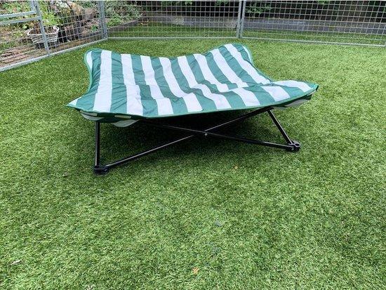 Hondenstretcher groen-wit gestreept opvouwbaar 90x90x20cm