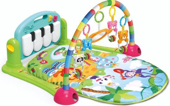 Product: Babygym Safari - Babystartup - Babygym speeltjes - Speelkleed baby - Speeltapijt - Speelmat met boog - Muziek speelmat - 3-in-1 Muzikale Activity - Groen, van het merk Hanger