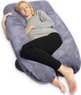 Stella Zwangerschapskussen - XXL - Voedingskussen   Grijs fleece   280cm   Afneembare hoes   Body pillow   Lichaamskussen